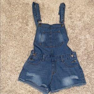 Pants - Distressed Jean short overalls